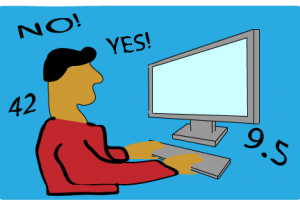 Drawing of a person taking an online survey.